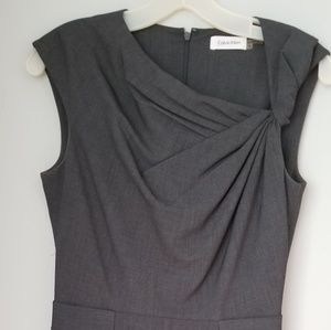 Calvin Klein Asymmetric V Neck Sheath Dress